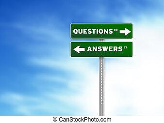 fragen, und, antworten, straße zeichen