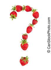 fragezeichen, gemacht, von, erdbeeren