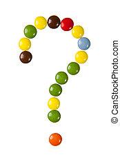 fragezeichen, gemacht, von, süßigkeiten