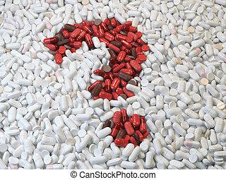 fragezeichen, von, rotes , pillen, und, kapseln, weiß, hintergrund., medizin, und, droge gibt, concept.