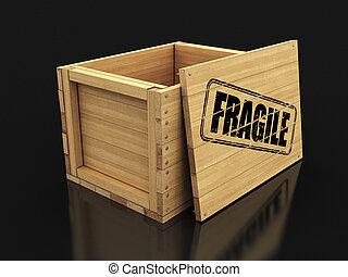 fragile., bois, image, caisse, coupure, timbre, sentier