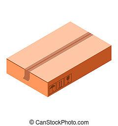 Fragile cardboard icon, isometric style