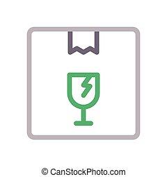 fragile  color line icon