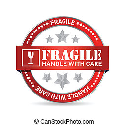 fragile, conception, illustration, cachet