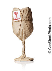 Fragile Contents - A Wine glass packaged in brown wrapping...