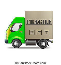 fragile delivery handle with care delivery truck with...