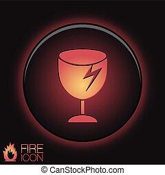 fragile glass symbol . logistics icon