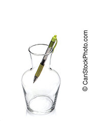 fragile glass transparent vessel with green pen isolated on white