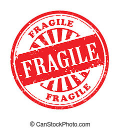 fragile grunge rubber stamp
