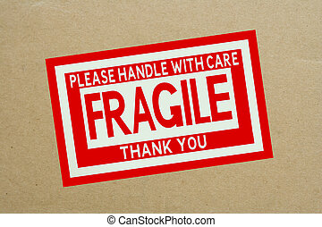 Fragile Handle with Care Sticker on Shipping Box