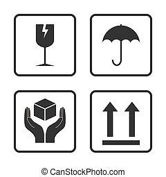 Fragile icon. Packaging symbol icon set. Vector illustration, flat design.