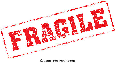 fragile - Grungy ink stamp, vector format very easy to edit