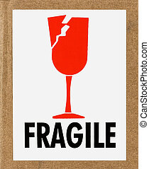 Fragile Label - Closeup of a fragile sign on a cardboard box