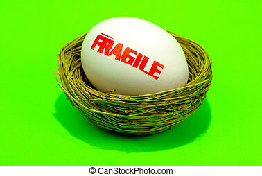 Fragile - Egg with the Word Fragile Stamped on it.