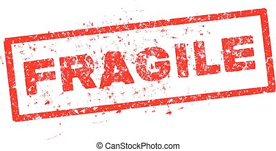 fragile red rubber stamp on white background, vector
