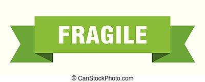 fragile ribbon. fragile isolated sign. fragile banner