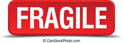 fragile, rouges, 3d, carrée, bouton, isolé, blanc, fond