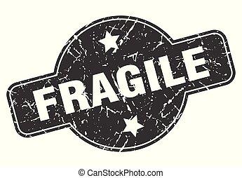 fragile round grunge isolated stamp
