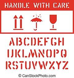 fragile, sec, ensemble, cargaison, timbre, sommet, boîte, garder, étiquette, étiquette, carton, logistique, police, transport, icône