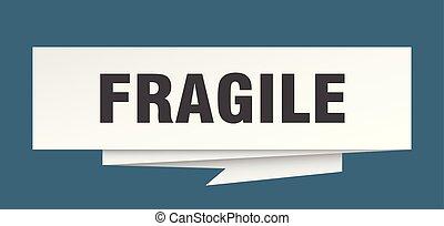 fragile sign. fragile paper origami speech bubble. fragile...