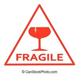 Fragile sign - Fragile red sign