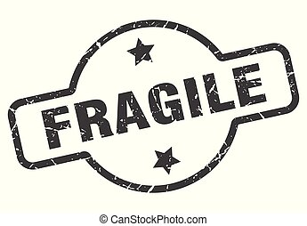 fragile sign - fragile vintage round isolated stamp