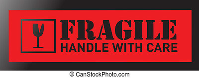 fragile sign illustration sticker design over a black ...