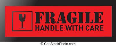 fragile sign illustration sticker design over a black ...