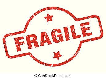 fragile stamp isolated on white
