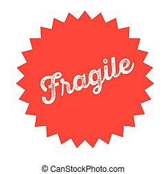 fragile stamp on white background . Sign, label sticker