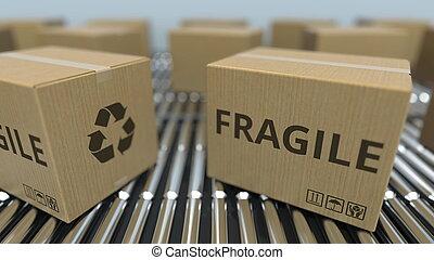 fragile, texte, conveyor., mouvement, rendre, boîtes, carton, rouleau, 3d