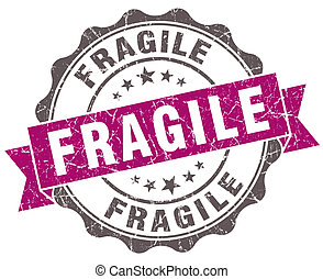 Fragile violet grunge retro style isolated seal