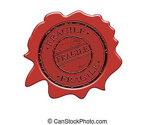 Fragile wax seal