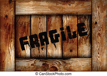 Fragile wooden box background. Vector