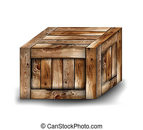 Fragile wooden box. Vector illustration