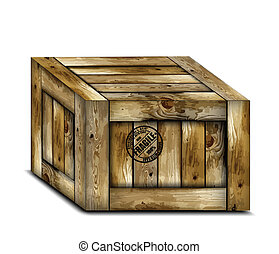 Fragile wooden box with stamp. Vector
