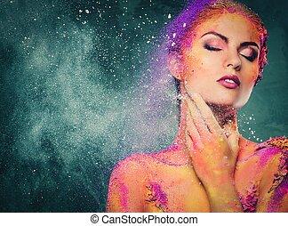 fragilidade, corpo mulher, arte, criatura, conceitual, human