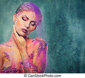 fragilità, di, uno, umano, creatura, concettuale, arte corpo, su, uno, donna