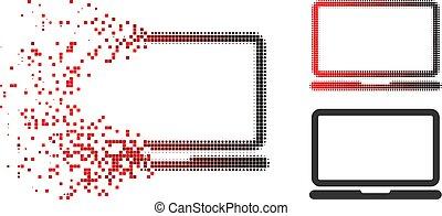 fragmenté, ordinateur portable, halftone, informatique, pixel, icône