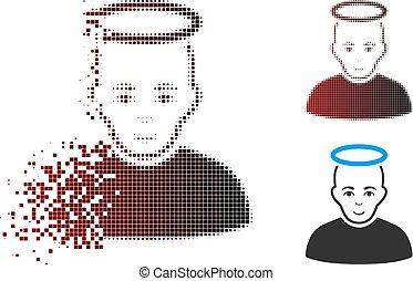 fragmenté, saint, halftone, homme, pixel, icône