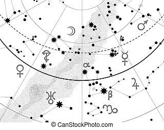 fragment, atlas, astronomique, céleste