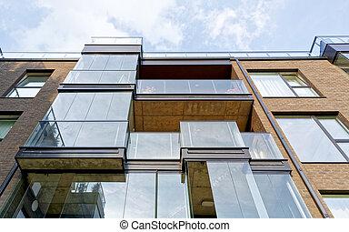 fragment, bâtiment, moderne, résidentiel