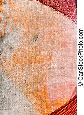 fragment, barwiony, płótno, struktura