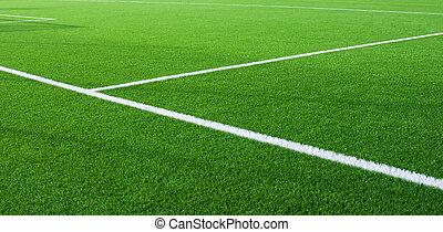 fragment, champ, lignes, blanc, football
