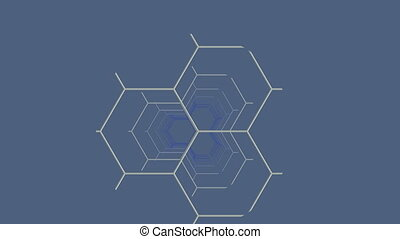 The fragment constructions (hexagon) slowly moves on a gray background