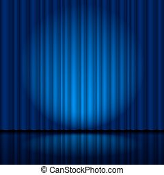 Fragment dark blue stage curtain