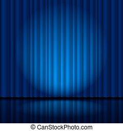 fragment, donker blauw, toneelgordijn