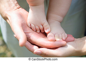fragment, enfants, jambe