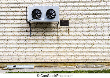 fragment, grand air, mur, climatiseur, brique blanche