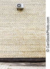fragment, grand, jaune, air, mur, climatiseur, brique